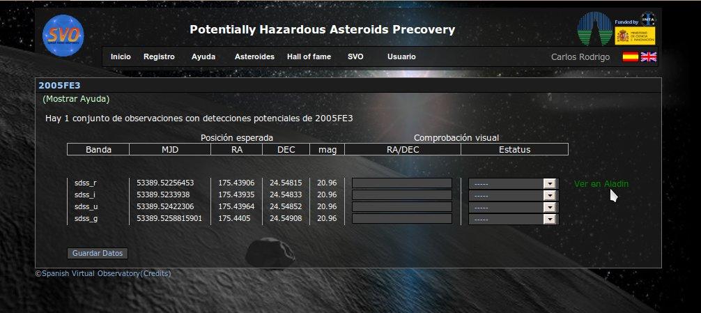 Identificación de asteroides cercanos a la Tierra